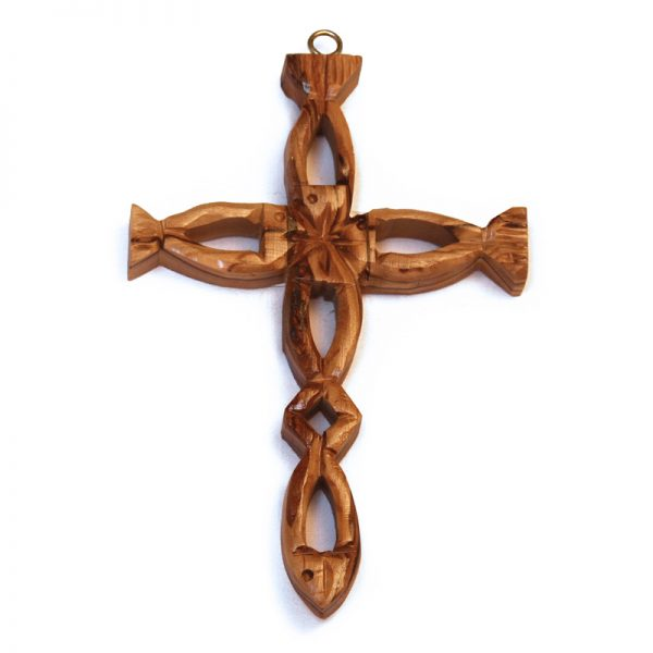 Hollow Olive Wood Fish Cross