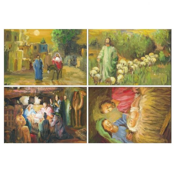 Set of 4 Zaki Baboun prints on Christmas Cards that were made in Bethlehem