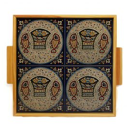 Large Tabgha Tile and Wood Tray