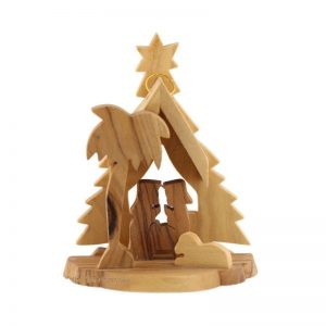 ONTHS-874-1 Olive Wood Nativity Christmas Tree Ornament