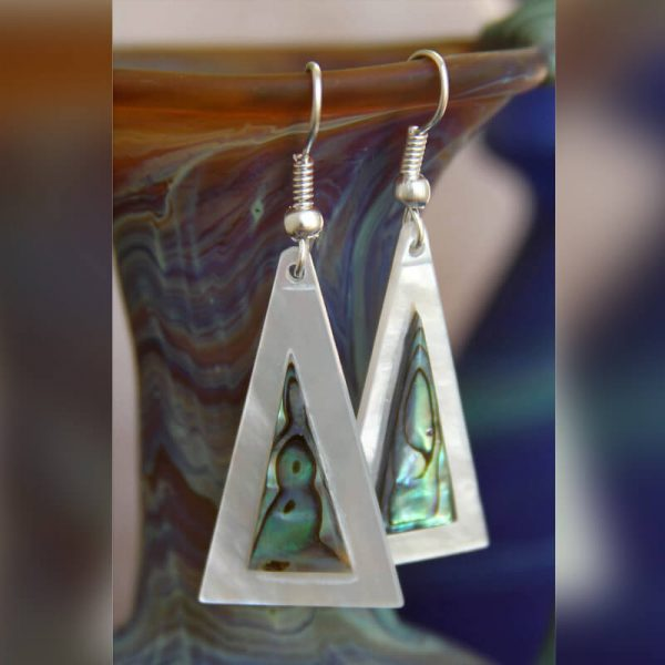 Mother of Pearl and Abalone Triangle Earrings METLWA/717