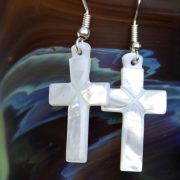 Mother of Pearl Cross Earrings MECWX/711