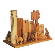 Small Olive Wood Nativity Set with Wall