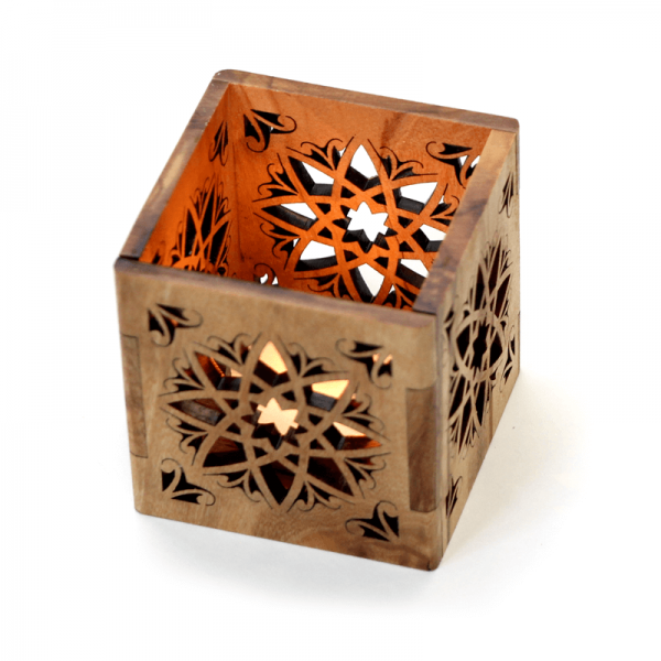Olive Wood Tea Light Holder Arab Style