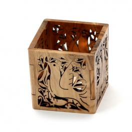 Olive Wood Tea Light Holder Dove Style