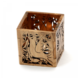 Olive Wood Tea Light Holder Dove Style