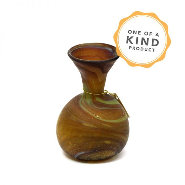Small Antiquity Flower Pot - Brown Glass