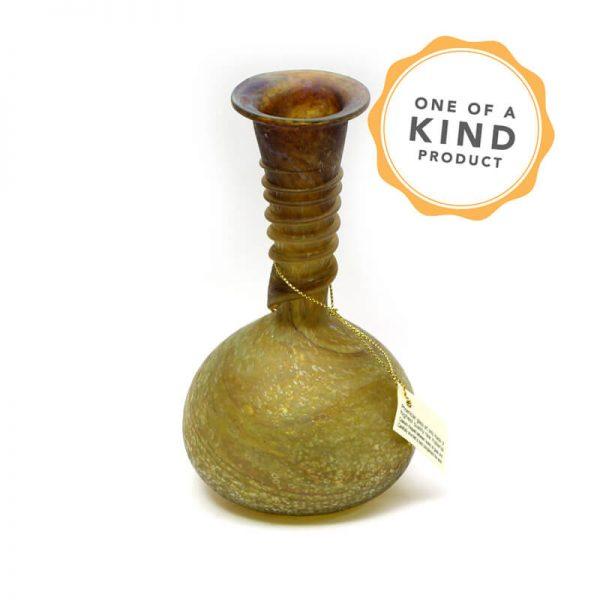 Small Antiquity Flower Pot - Brown Spiral Glass