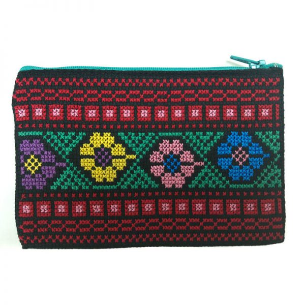 Handmade Flower Palestinian Embroidery Pouch Bethlehem