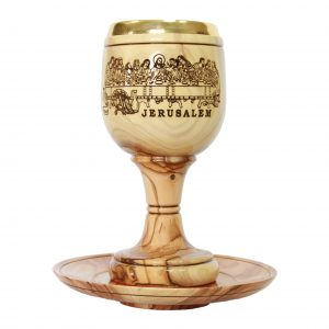 Communion Cup with plate – Laser engraved Last Supper